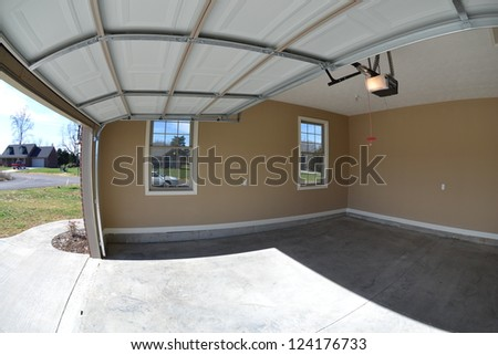 Newly Constructed Home's Garage Interior - stock photo