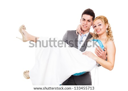 Newly married wedding couple in love, isolated on white background - stock photo