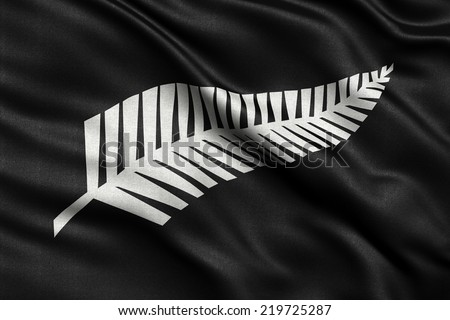 Newly proposed silver fern flag for New Zealand waving in the wind. High quality fabric material. - stock photo