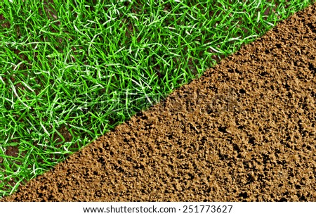 Newly sown lawn and soil prepared for seeding - stock photo
