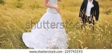 Newlywed couple together spending wedding day.  - stock photo