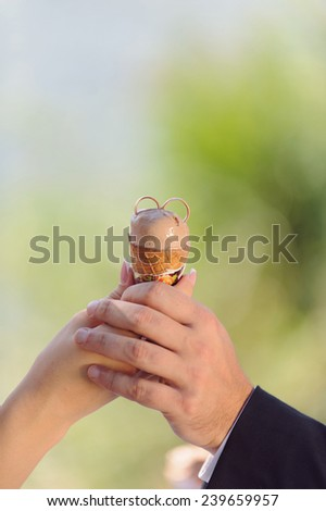 newlyweds holding ice cream with two rings - stock photo