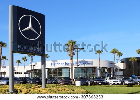 NEWPORT BEACH, CA-AUGUST, 2015:  Fletcher Jones Mercedes Benz dealership is one the largest Mercedes' dealers in the United States. - stock photo