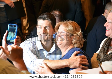 NEWPORT NEWS, VIRGINIA-SEPTEMBER 18: Congressman Paul Ryan, Republican Vice Presidential candidate at a rally held at Christopher Newport University in Newport News, Va. September 18, 2012 - stock photo