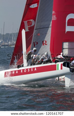 NEWPORT, RI - JULY 29: Max Sirena skippers Luna Rossa during 2012 America's Cup World Series in Newport, RI on June 29, 2012. - stock photo