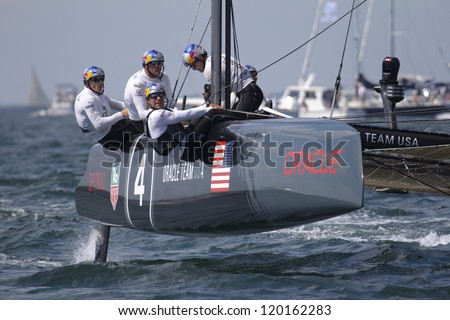 NEWPORT, RI - JUNE 28: James Spittal skippers Oracle Racing during 2012 America's Cup World Seriess in Newport, RI on June 28, 2012. - stock photo