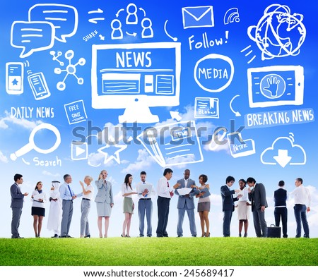 News Breaking News Daily News Follow Media Searching Concept - stock photo