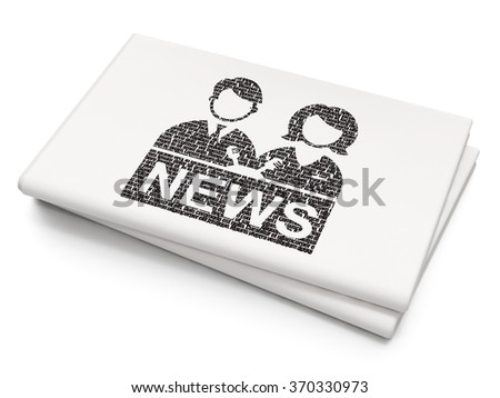 News concept: Anchorman on Blank Newspaper background - stock photo