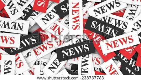 News concept background with a multitude of sign and text on scattered paper. - stock photo