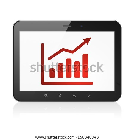News concept: black tablet pc computer with Growth Graph icon on display. Modern portable touch pad on White background, 3d render - stock photo