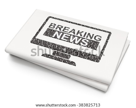 News concept: Breaking News On Screen on Blank Newspaper background - stock photo