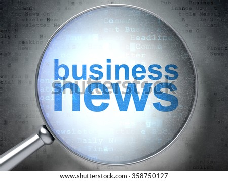 News concept: Business News with optical glass - stock photo