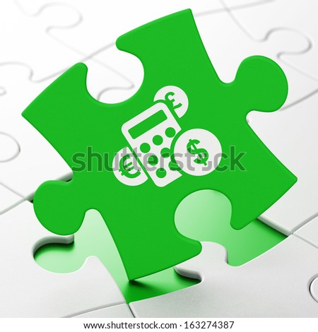 News concept: Calculator on Green puzzle pieces background, 3d render - stock photo