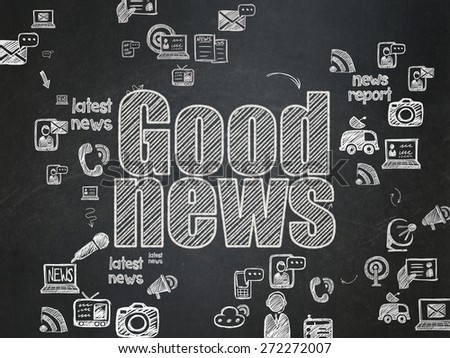 News concept: Chalk White text Good News on School Board background with Scheme Of Hand Drawn News Icons, 3d render - stock photo