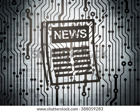 News concept: circuit board with Newspaper - stock photo