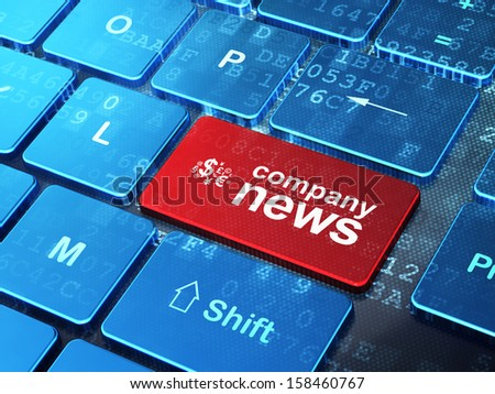 News concept: computer keyboard with Finance Symbol icon and word Company News on enter button background, 3d render - stock photo