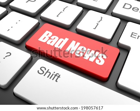 News concept: computer keyboard with word Bad News, selected focus on enter button background, 3d render - stock photo