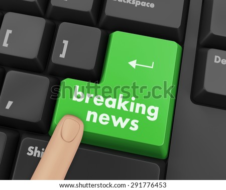 News concept: computer keyboard with word Breaking News on enter button background, 3d render - stock photo