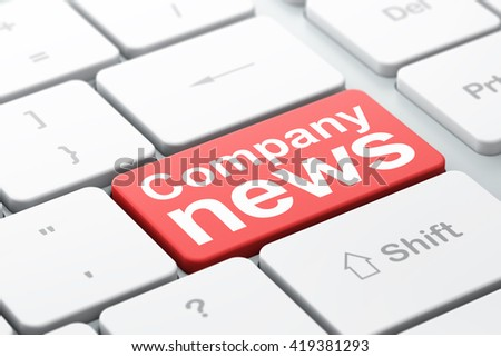 News concept: computer keyboard with word Company News, selected focus on enter button background, 3D rendering - stock photo