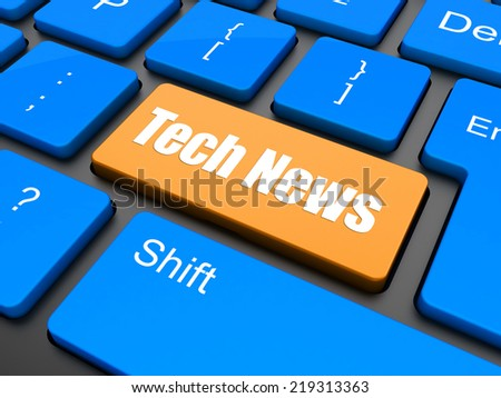News concept: computer keyboard with word Tech News, selected focus on enter button, 3d render - stock photo
