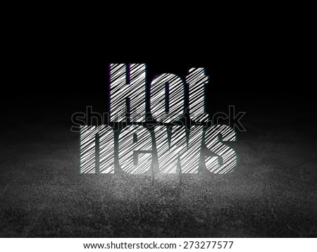 News concept: Glowing text Hot News in grunge dark room with Dirty Floor, black background, 3d render - stock photo