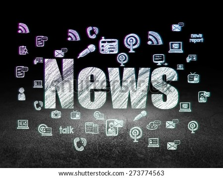 News concept: Glowing text News,  Hand Drawn News Icons in grunge dark room with Dirty Floor, black background, 3d render - stock photo
