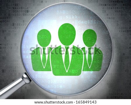 News concept: magnifying optical glass with Business People icon on digital background, 3d render - stock photo