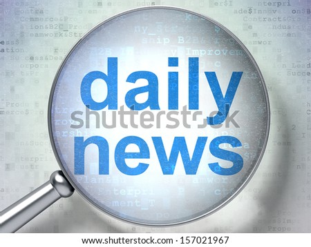 News concept: magnifying optical glass with words Daily News on digital background, 3d render - stock photo