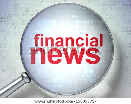 News concept: magnifying optical glass with words Financial News on digital background, 3d render - stock photo