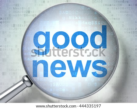 News concept: magnifying optical glass with words Good News on digital background, 3D rendering - stock photo