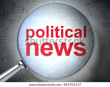 News concept: magnifying optical glass with words Political News on digital background, 3D rendering - stock photo
