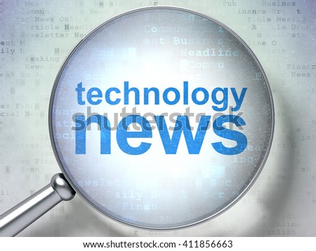 News concept: magnifying optical glass with words Technology News on digital background, 3D rendering - stock photo