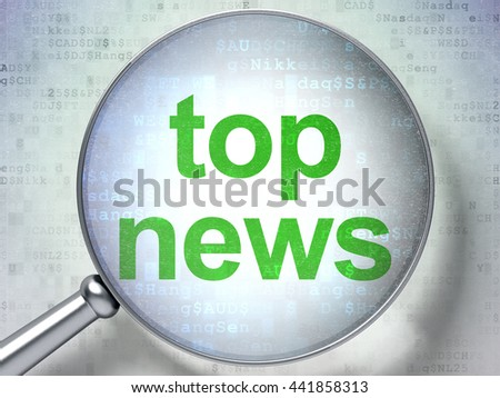 News concept: magnifying optical glass with words Top News on digital background, 3D rendering - stock photo