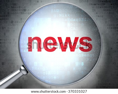 News concept: News with optical glass - stock photo