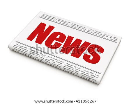 News concept: newspaper headline News on White background, 3D rendering - stock photo
