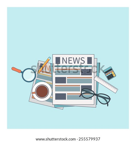 News concept. Newspaper with magnifying glass, glasess, cup of tea and calculator in flat design. Raster version - stock photo