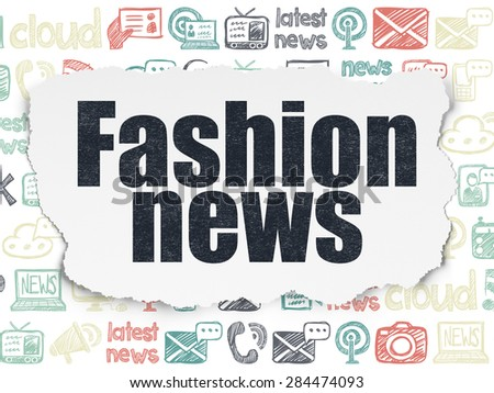 News concept: Painted black text Fashion News on Torn Paper background with  Hand Drawn News Icons, 3d render - stock photo