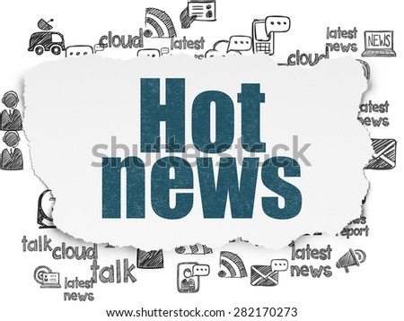 News concept: Painted blue text Hot News on Torn Paper background with  Hand Drawn News Icons, 3d render - stock photo