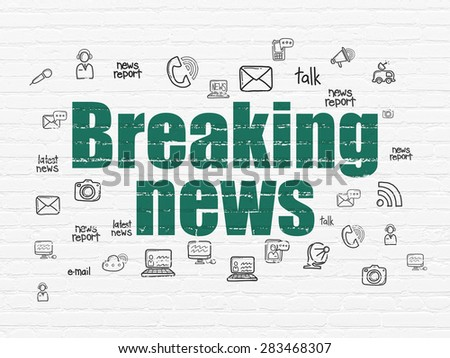 News concept: Painted green text Breaking News on White Brick wall background with  Hand Drawn News Icons, 3d render - stock photo
