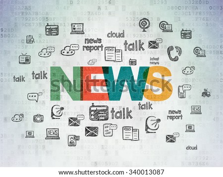 News concept: Painted multicolor text News on Digital Paper background with  Hand Drawn News Icons - stock photo