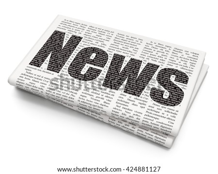 News concept: Pixelated black text News on Newspaper background, 3D rendering - stock photo