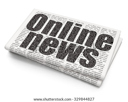 News concept: Pixelated black text Online News on Newspaper background - stock photo