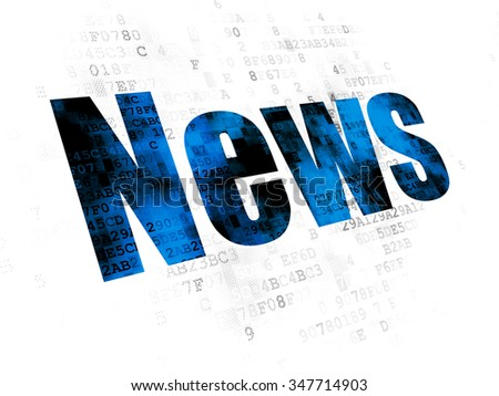 News concept: Pixelated blue text News on Digital background - stock photo