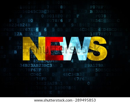 News concept: Pixelated multicolor text News on Digital background - stock photo