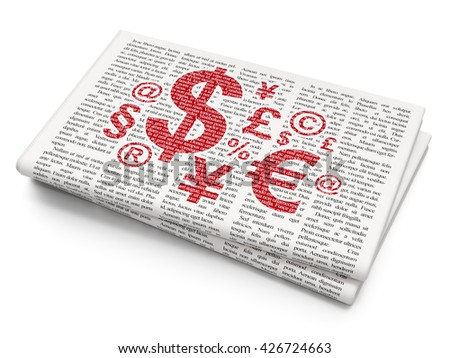 News concept: Pixelated red Finance Symbol icon on Newspaper background, 3D rendering - stock photo