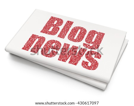 News concept: Pixelated red text Blog News on Blank Newspaper background, 3D rendering - stock photo