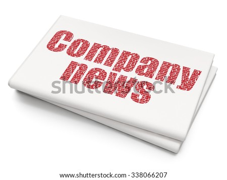 News concept: Pixelated red text Company News on Blank Newspaper background - stock photo