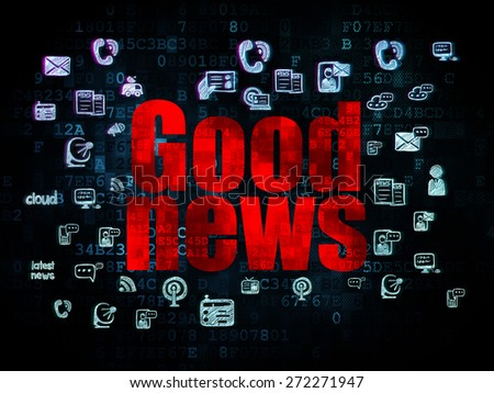 News concept: Pixelated red text Good News on Digital background with  Hand Drawn News Icons, 3d render - stock photo