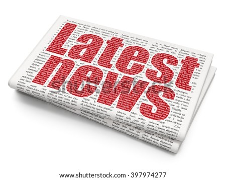 News concept: Pixelated red text Latest News on Newspaper background 3d rendering - stock photo