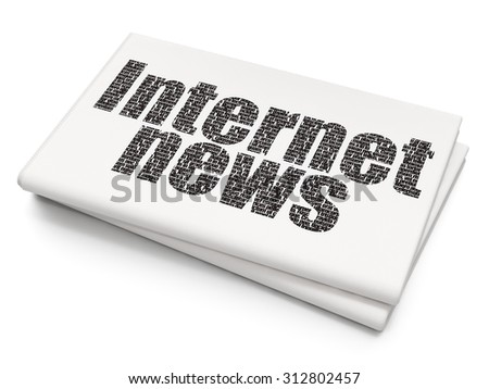 News concept: Pixelated  text Internet News on Blank Newspaper background - stock photo